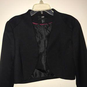 Crop blazer with suede shoulders